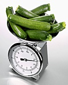 Courgettes on kitchen scales
