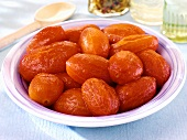 Peeled tomatoes in a dish