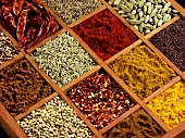 Indian spices in a typesetter's case