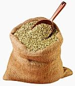 Fennel seeds in jute sack with scoop