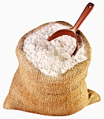 Wholemeal flour in jute sack with scoop