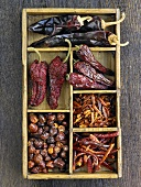 Various types of dried chillies in a type case