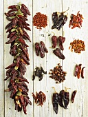 Various types of dried chillies on light wooden background