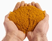 Hands holding curry powder