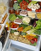 Various foods in a refrigerator