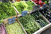 Vegetables on a market stall in France