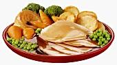 Sliced chicken breast, Yorkshire pudding, vegetables & gravy