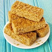 Flapjacks on a plate (Rolled oat tray bake, UK)
