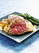 Roast Aberdeen Angus beef with roast potatoes & green beans
