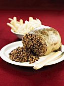 Haggis, cut open (Stuffed sheep's stomach, Scotland)