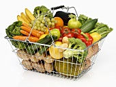 Shopping basket full of fruit and vegetables