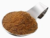 Garam masala on a spoon (Indian spice mixture)