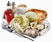 Eel, pie and mash with parsley liquor (sauce), England