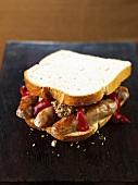 Ein Würstchen-Sandwich mit Ketchup