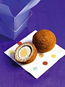 Scotch egg, whole and half