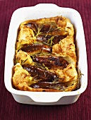Toad-in-the-hole in a baking dish