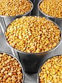 Yellow split peas in buckets