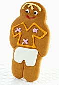 A gingerbread man decorated with icing