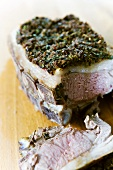 Roast loin of lamb with anchovy and thyme crust