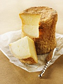 Hard cheese with a piece removed & cheese knife on paper (Normandy)