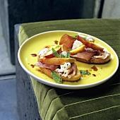 Bruschettas with ham, cheese, nectarine & balsamic dressing