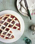 Cherry crostata, a piece taken