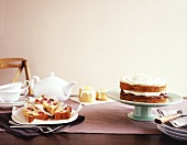 Cherry and almond cake, lemon cakes, banana caramel cake