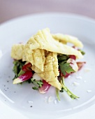 Deep-fried squid on radish and spring onion salad