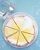 Tarte au citron, cut into pieces