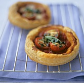 Cherry tomato puff pastry tarts with basil
