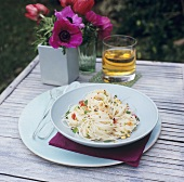 Spaghettini with peanuts, coriander and chilli out of doors