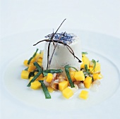 Panna cotta with lychee and mango salad