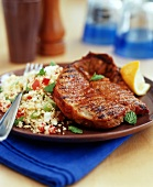 Barbecued steak with vegetable couscous