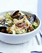 Tagliatelle with shellfish and vegetables