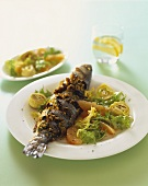 Sea bass with olive crumbs and a summer salad