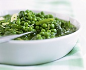 Peas and green vegetables