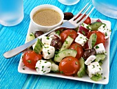Greek salad with dressing