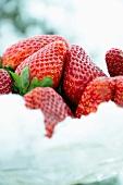 Fresh strawberries in snow