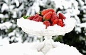 Fresh strawberries in snow on glass stand