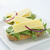Cheddar cheese, rocket and red onion on bread rolls
