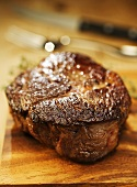 Fried rib eye steak