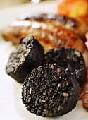 Slices of fried black pudding