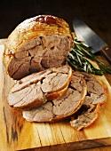 Roast leg of lamb, slices carved