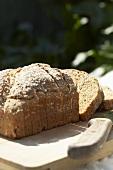 Irish wholemeal bread on chopping board