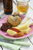 Ploughman's lunch with beer (UK)