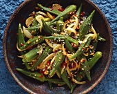 Braised okra pods with chilli