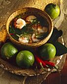 Thai prawn soup with limes