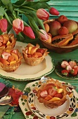 Puff pastry cases filled with fruit