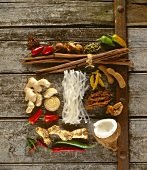 Asian ingredients (chilli peppers, ginger, coconut, rice noodles)