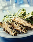 Salmon fillets in a sesame crust